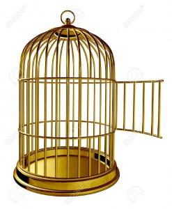 14118889-Offene-Vogelk-fig-als-einem-goldenen-Messing-Metall-Gef-ngnis-mit-einer-ge-ffneten-T-r-als-Symbol-f--Lizenzfreie-Bilder